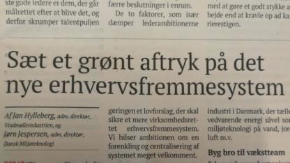 Dansk Miljøteknologi i Børsen: Sæt grønt aftryk på erhvervsfremmesystemet